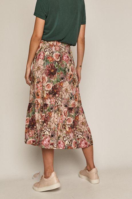 Spódnica damska midi z falbaną w kwiaty