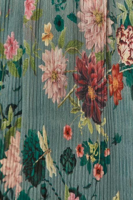 Plisowana spódnica w kwiaty turkusowa