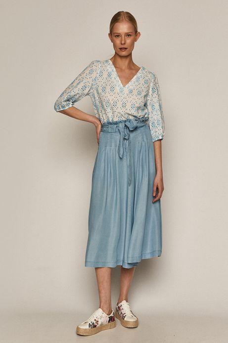 Rozkloszowana spódnica damska z Tencelu niebieska
