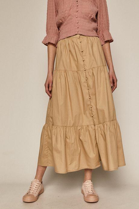 Bawełniana spódnica damska z guzikami beżowa