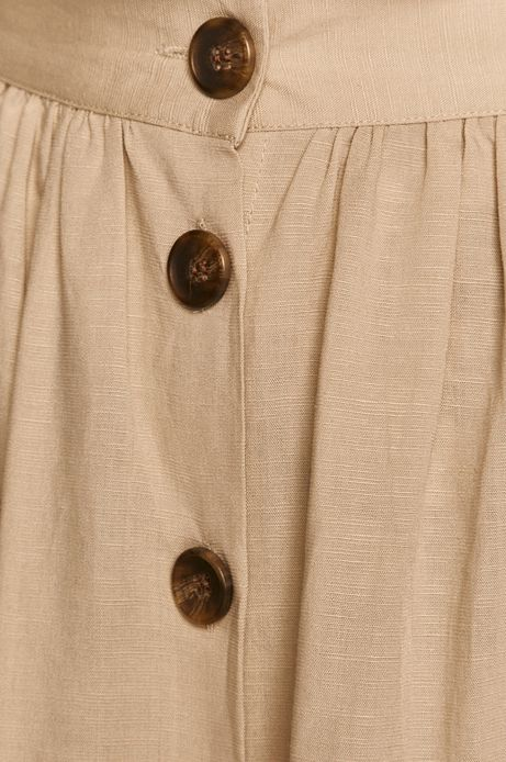Rozkloszowana spódnica damska z domieszką lnu beżowa