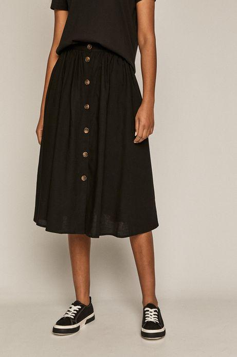 Rozkloszowana spódnica damska z domieszką lnu czarna