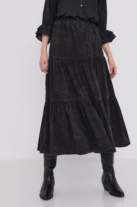 Denimowa spódnica damska z falbanką i marszczeniami szara