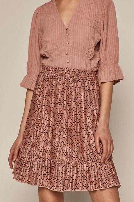 Plisowana spódnica damska z falbanką różowa
