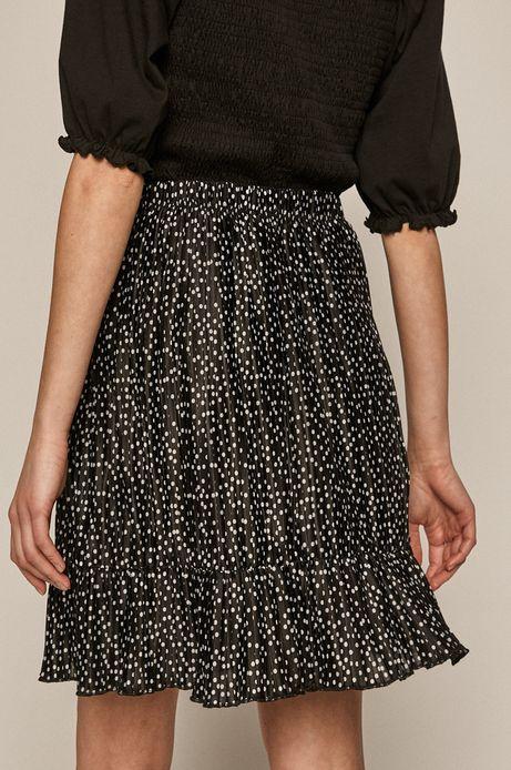 Plisowana spódnica damska z falbanką czarna