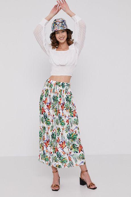 Plisowana spódnica damska w tropikalny wzór biała