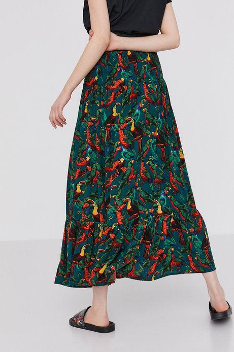 Długa spódnica spódnica damska z wiskozy z falbanką i marszczeniami zielona