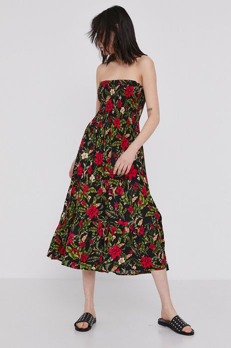 Długa spódnica spódnica damska z wiskozy z falbanką i marszczeniami czarna