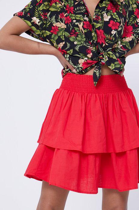 Spódnica damska z falbankami z domieszką lnu czerwona
