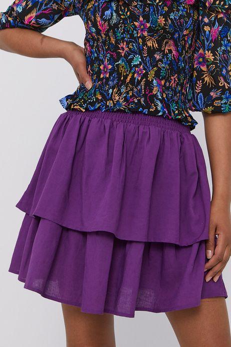 Spódnica damska z falbankami z domieszką lnu fioletowa