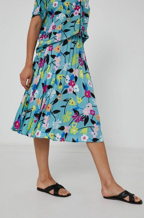 Plisowana spódnica damska w kwiaty turkusowa