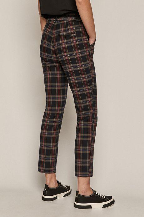 Spodnie damskie z tkaniny w kratkę czarne