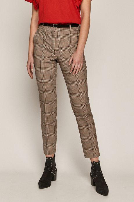 Spodnie damskie z tkaniny w kratkę beżowe