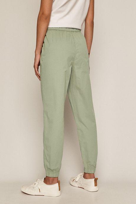 Spodnie damskie joggery z bawełnianej tkaniny zielone