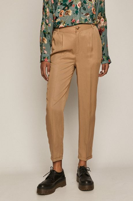 Spodnie damskie z lyocellu beżowe