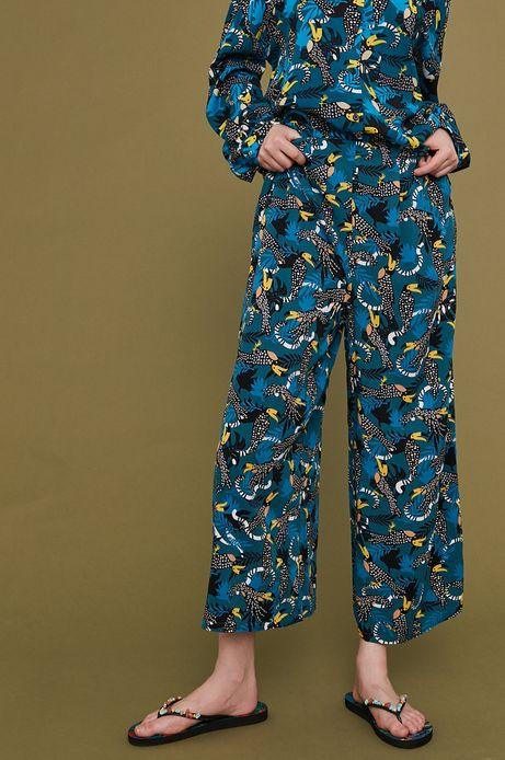Wzorzyste spodnie damskie culotte zielone