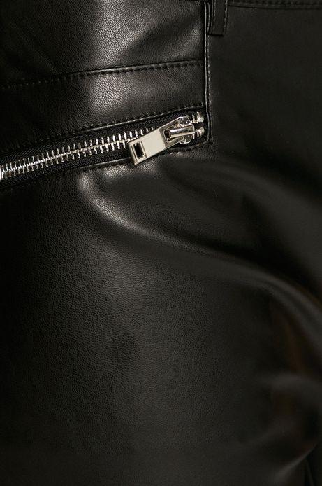 Spodnie damskie z imitacji skóry czarne