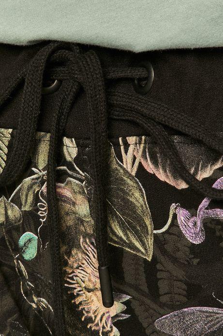 Dresowe spodnie damskie z wzorzystej dzianiny czarne