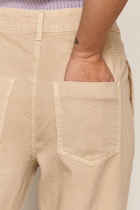 Spodnie damskie slouchy beżowe