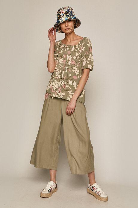 Spodnie damskie culotte z lyocellu zielone