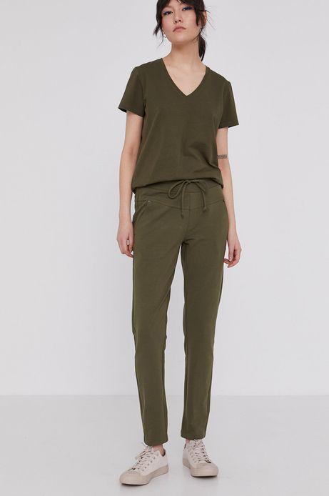 Spodnie damskie z bawełny organicznej zielone
