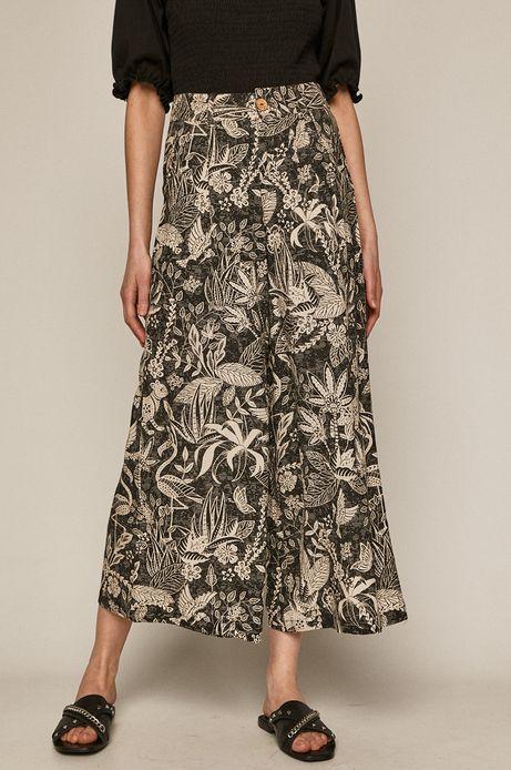 Spodnie damskie culotte z domieszką lnu wzorzyste