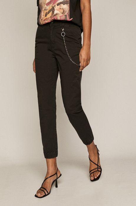 Spodnie damskie z łańcuszkiem czarne