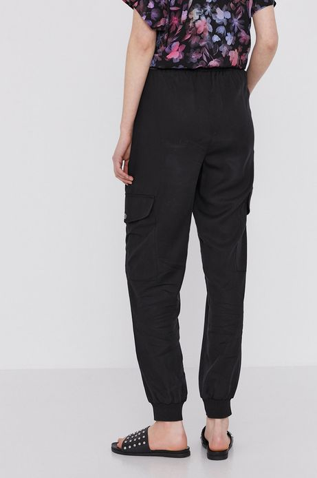 Spodnie damskie cargo z lyocellu czarne