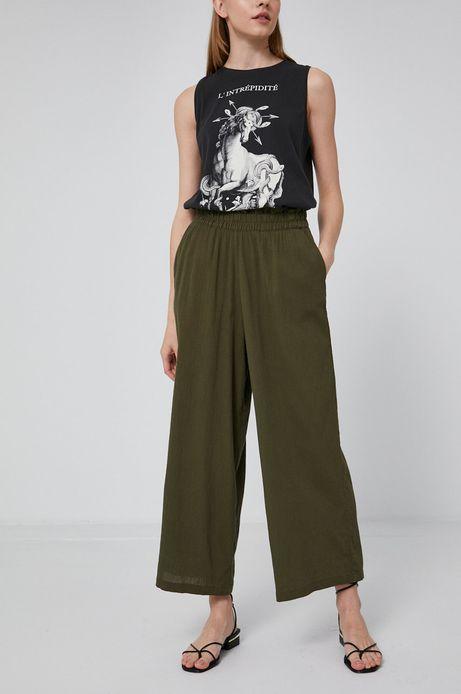 Spodnie damskie culottes zielone