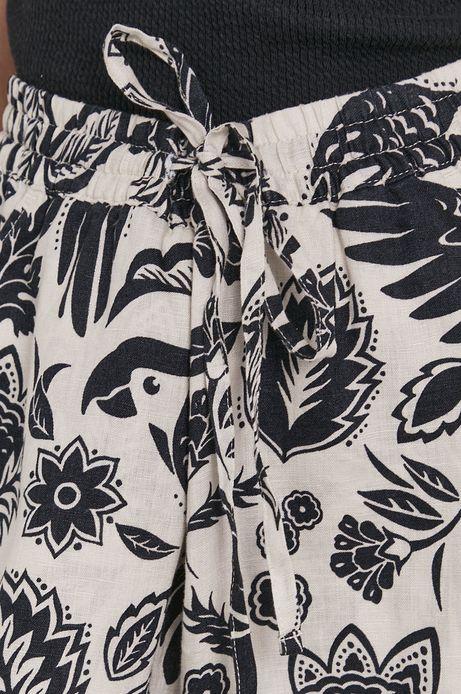 Lniane spodnie culotte beżowe