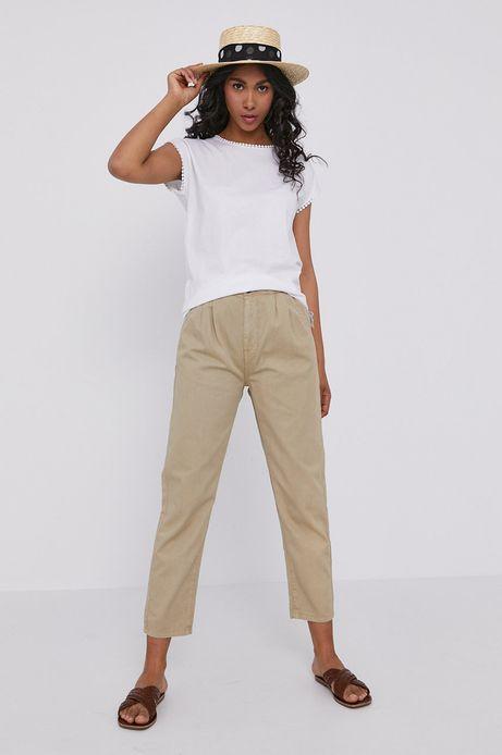 Spodnie damskie paper bag beżowe