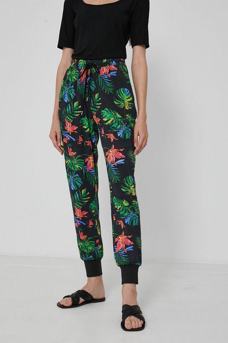 Spodnie damskie dresowe w roślinny wzór