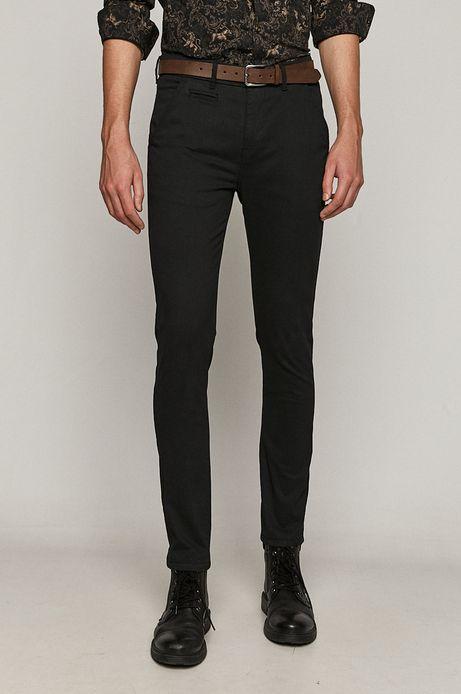 Spodnie męskie z paskiem w drobny wzór czarne