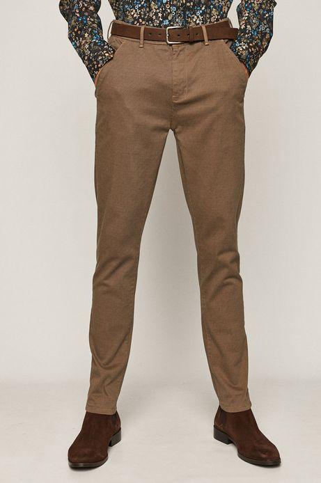 Spodnie męskie w drobny wzór z paskiem beżowe