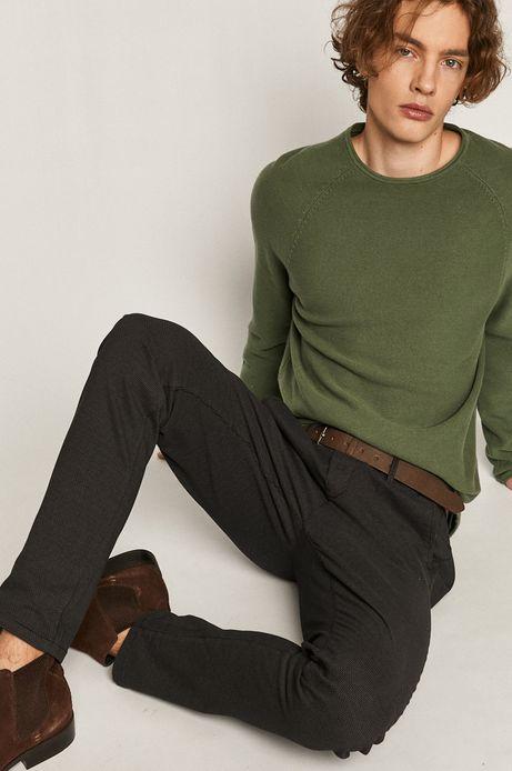 Spodnie męskie w drobny wzór z paskiem czarne