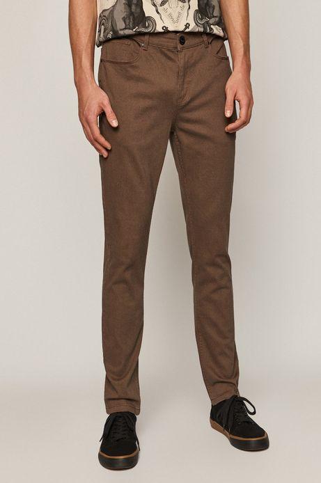 Spodnie męskie w drobny wzór brązowe