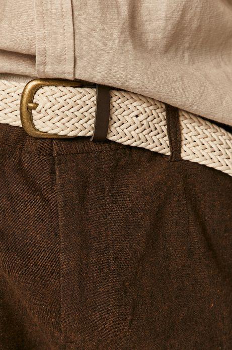 Spodnie męskie lniane z paskiem brązowe