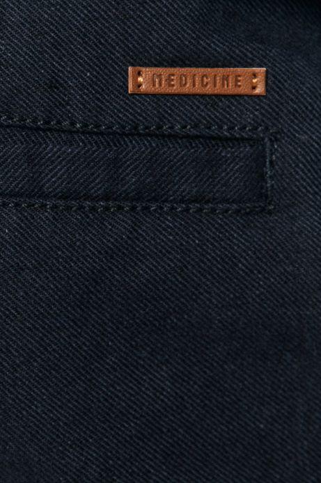 Spodnie męskie lniane z paskiem granatowe