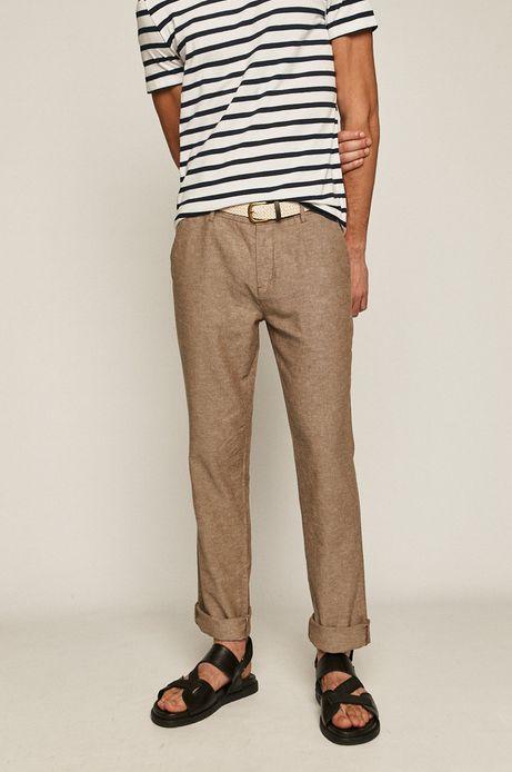 Spodnie męskie lniane z paskiem beżowe