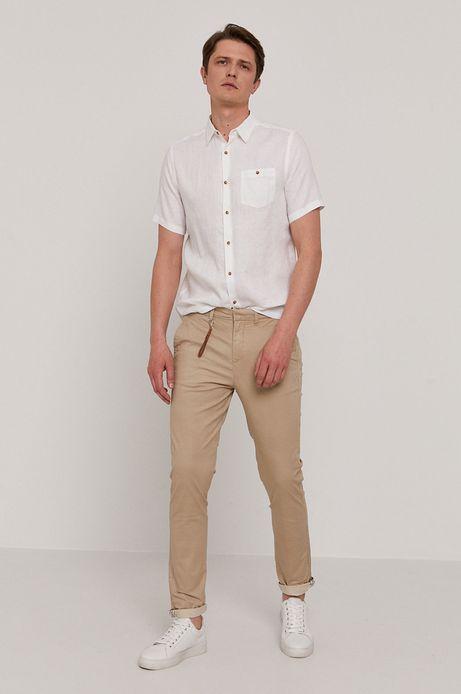 Spodnie męskie w drobny wzór beżowe