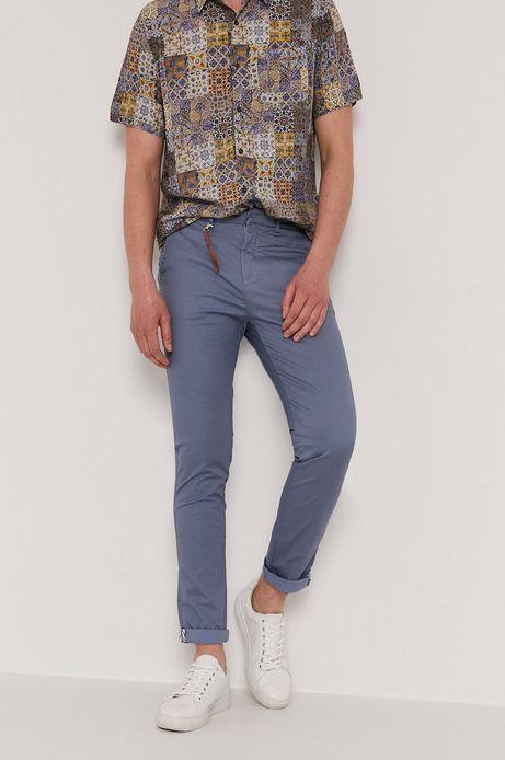 Spodnie męskie w drobny wzór niebieskie