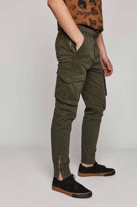 Spodnie męskie joggery z kieszeniami cargo zielone