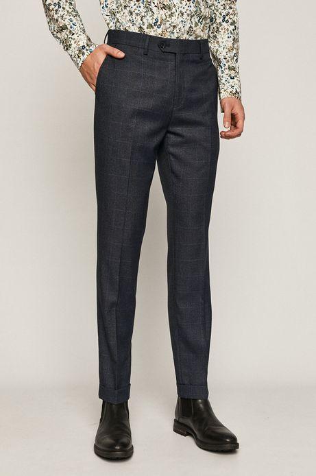 Spodnie męskie slim z tkaniny w kratę granatowe