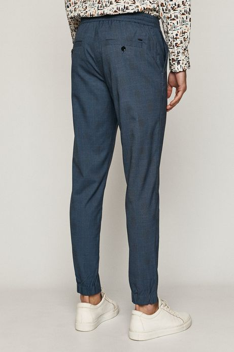 Spodnie męskie z tkaniny w kratę niebieskie