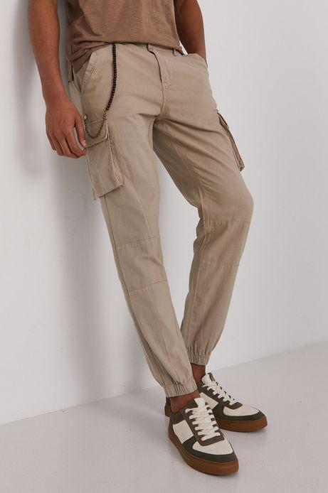 Spodnie męskie cargo z domieszką lnu beżowe
