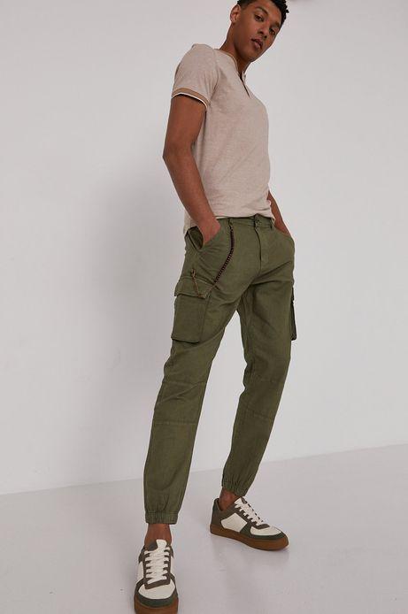 Spodnie męskie cargo z domieszką lnu zielone
