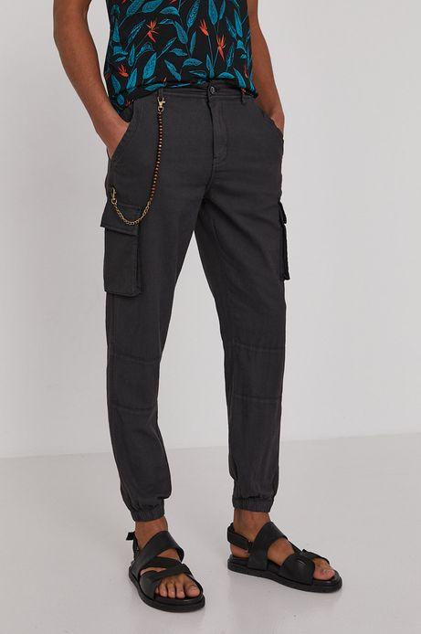 Spodnie męskie cargo z domieszką lnu czarne