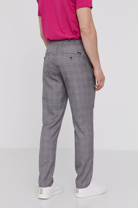 Spodnie męskie chino z tkaniny w kratę szare