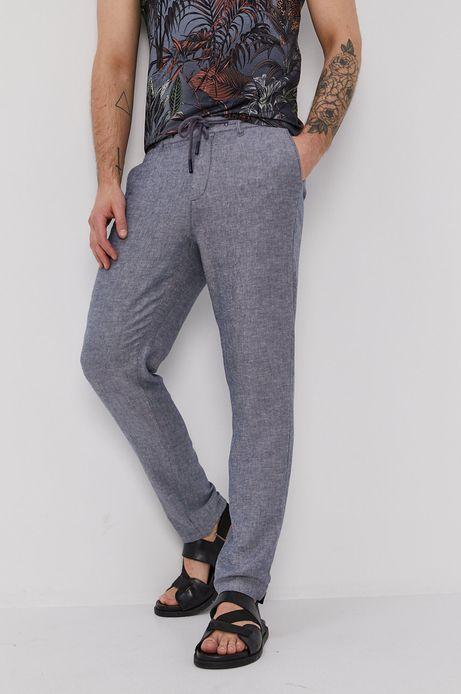 Spodnie męskie lniane niebieskie