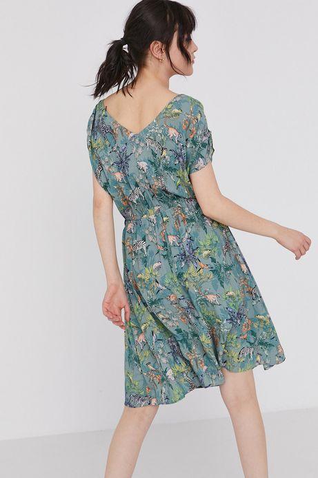 Wzorzysta sukienka damska z marszczeniami turkusowa
